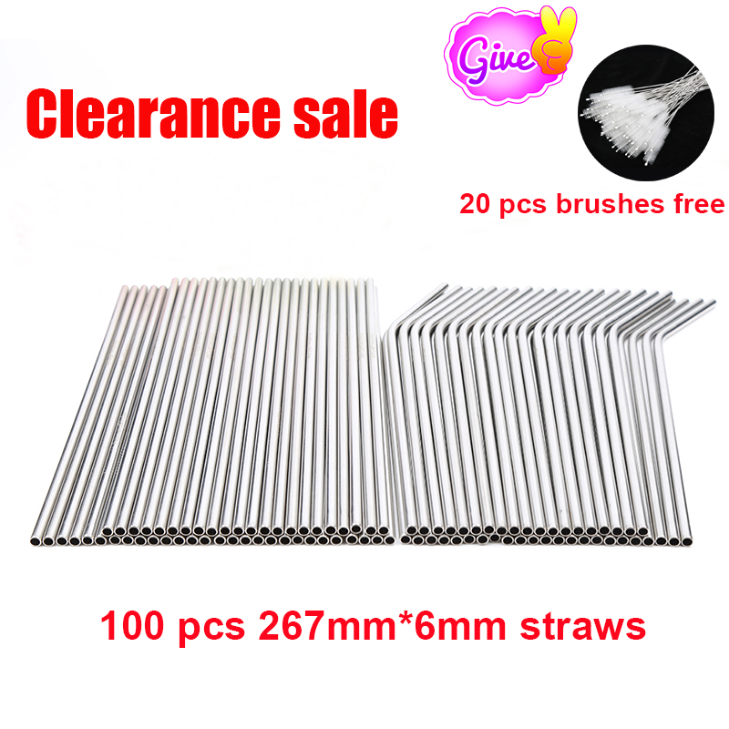 Wholesale 100pcs/lot Metal Straws Reusable High Quality 304 Stainless Steel Drinking Tubule 267mm*6mm E-co friendly Bent Straws