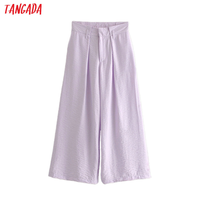 Tangada Fashion Women Purple Wide Leg Pants Trousers Vintage Style Pockets Buttons Office Lady Pants Pantalon 6A127