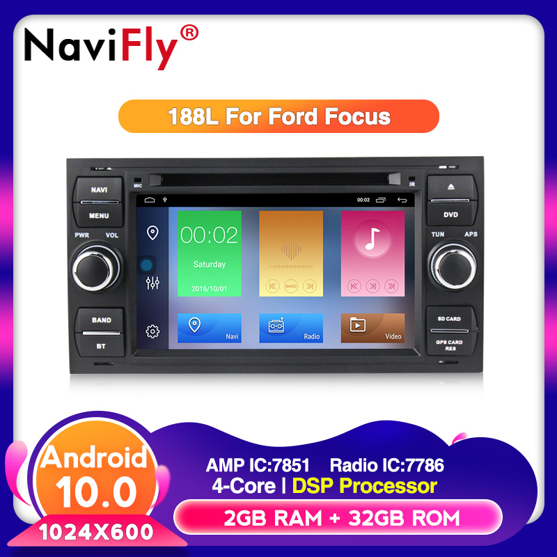 free shipping Android10 Car multimedia DVD Player For <font><b>Ford</b></font> Focus Kuga <font><b>Transit</b></font> with WIFI BT <font><b>GPS</b></font> navigation radio TDA7851 3G image