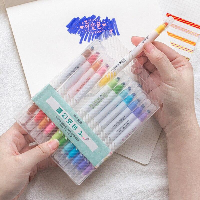 3 Set/Lot Magic Fluorescent Highlighter Pen 12 Color Drawing Marker Liner Pens Art Hand Writing Lettering Stationery School F809