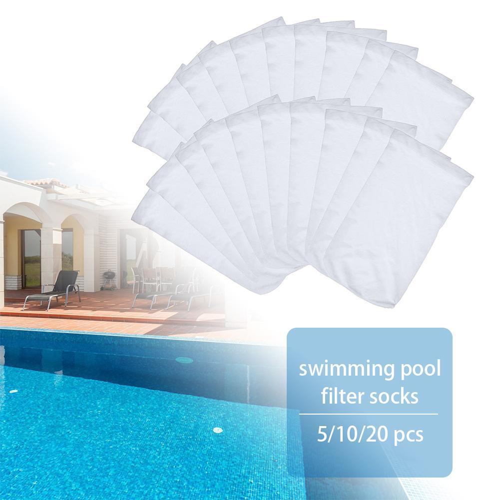 5/10/20pcs White Nylon Swimming Pool Filter Storage Pool Skimmer Socks Saver Skimmer Basket Sock Sleeve Mesh Screen Sock Net