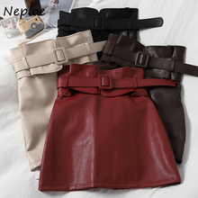 Neploe Fashion 2021 Autumn Bud High Wasit Half-length Skirt Korean Solid Croup Temperament Sashes Women Leather Skirts 82368