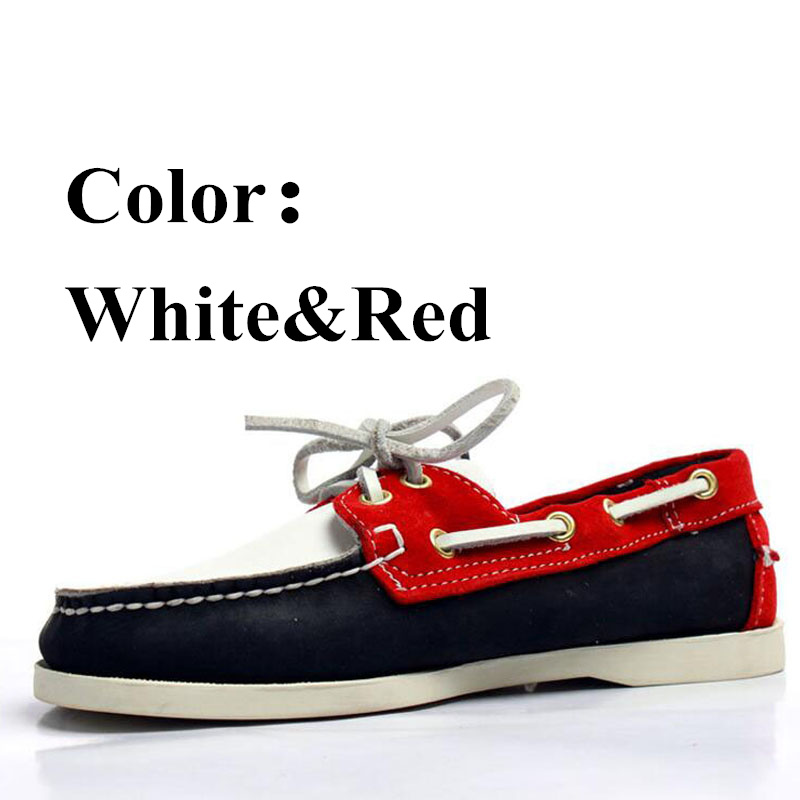 Men Genuine Nubuck Leather Docksides Boat Shoes,Men Designer Sneakers For Hommme Femme White Red Hombre Loafers Y055