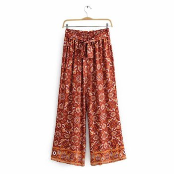 New Wide-leg Pants Printed Elastic Band Casual Trousers Comfortable Polyester Cotton Bohemian Ethnic Style