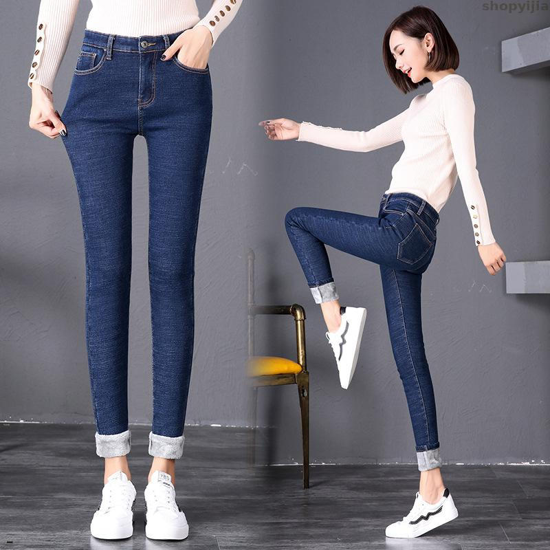 Women Warm Thin Skinny Stretch High New Winter Velvet Thickening Jeans Waist Pencil Pants Plus Size 4 Color Jeans
