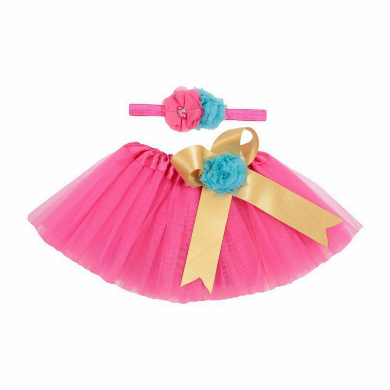 Baby Girl Tutu Skirt 2pcs Headband Flower Set Lace Gown Bloomers Infant Outfits