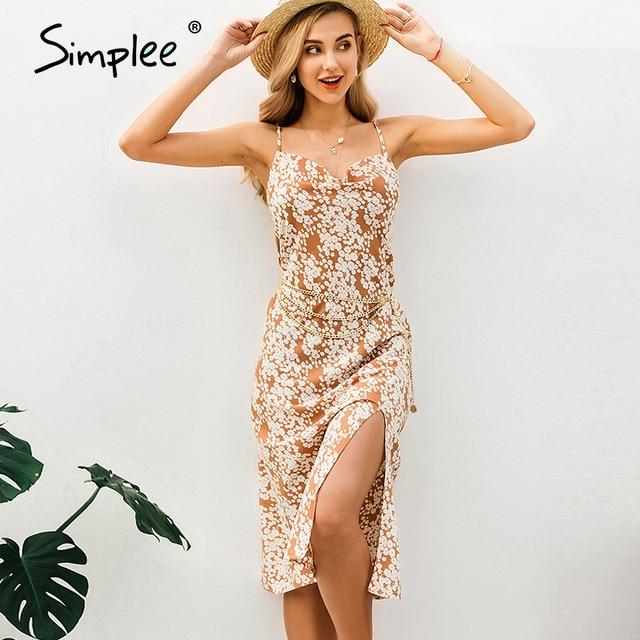 Simplee Sexy spaghetti strap women dress Elegant v neck floral print high split female sundress Summer beach ladies midi dresses