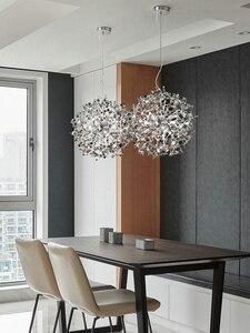 Image 5 - Lampe suspendue en acier inoxydable, couleur gris argent pendentif led, design moderne, éclairage décoratif de plafond, idéal pour une salle à manger, un restaurant ou un restaurant