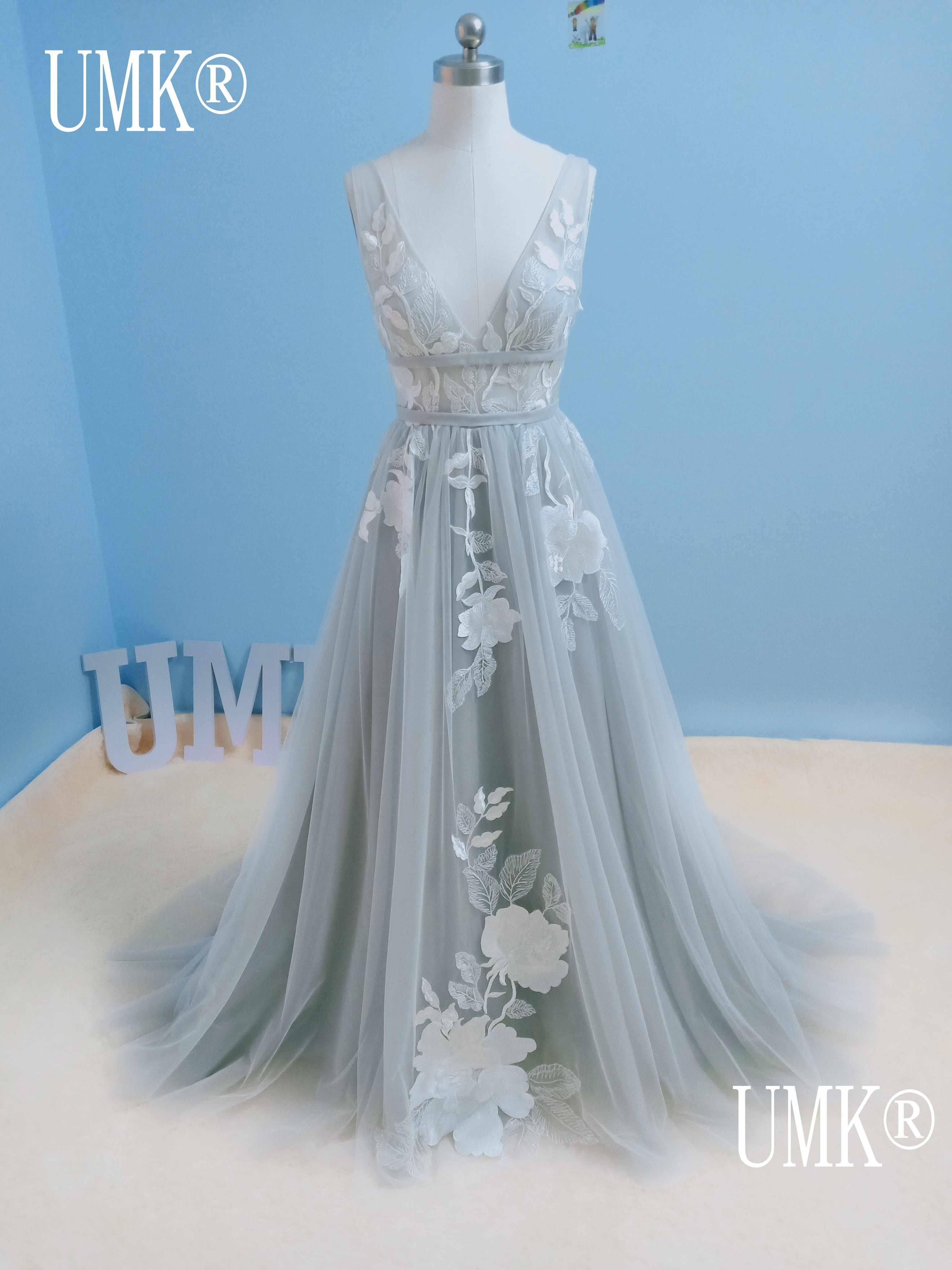 grau wedding kleid