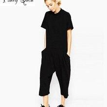 summer black rompers womens jumpsuit Elegant side pocket loo