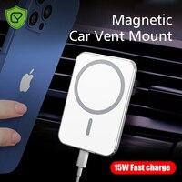 Cargador de coche inalámbrico magnético de 15W, soporte de carga rápida y ajustable para iPhone 12 Pro Max Mini Magsafe