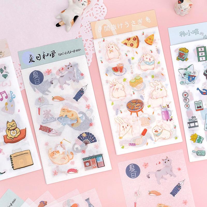 6pcs/lot Kawaii Fortune Cat Rabbit Paper Sticker Decoration Diary Scrapbooking Label Sticker Cute Japanese Stationaries Stickers