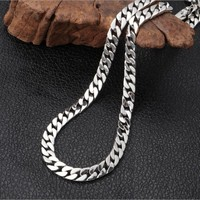 2019 New 100% real 925 sterling silver jewelry necklace for Men Thai silver necklace for Women 8mm thick Men's silver necklace