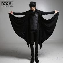 2020 New Avant-garde Long Style Trench Mens Black Punk Rock Style Outerwear Boys Brand Clothing Personality Loose Casual Coats(China)