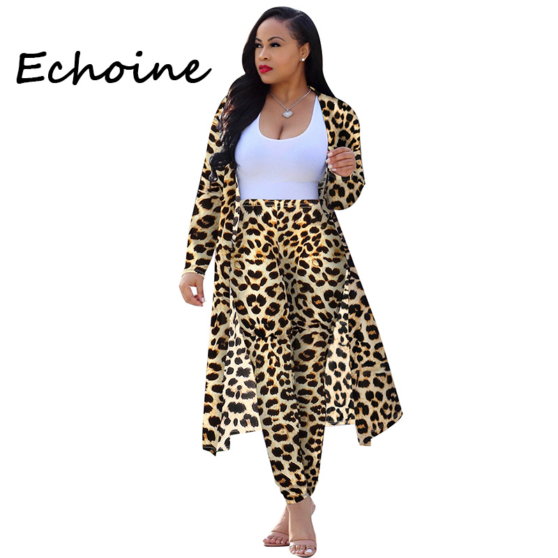 Sexy Print Leopard Cardigan Jacket Two Pieces Set Long Sleeve Long Tops +Pants Casual Party Night Autumn Cloths For Women