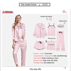 Image 4 - Bộ Đồ Ngủ Nữ Bộ Đồ Ngủ Lụa Nữ 7 Món Đồ Ngủ Mùa Đông Gợi Cảm Pijamas Nữ Mềm Ngọt Dễ Thương VÁY NGỦ Pyjama Set