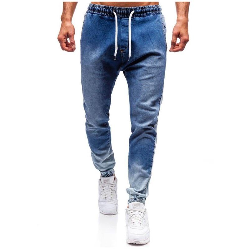 Men Jeans Trendy Men Skinny Jeans Biker Destroyed Frayed Fit Denim Ripped Denim Pants Side Stripe Pencil Pants Casual Jeans