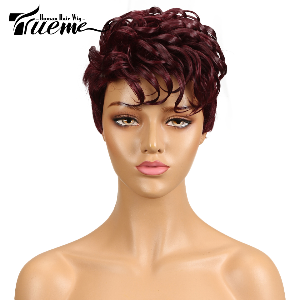 Trueme Brazilian Remy Hair Human Hair Wigs For Women Curly Wave Ladies Short Hair Wigs Curly Pixie Cut Full Wig Sales