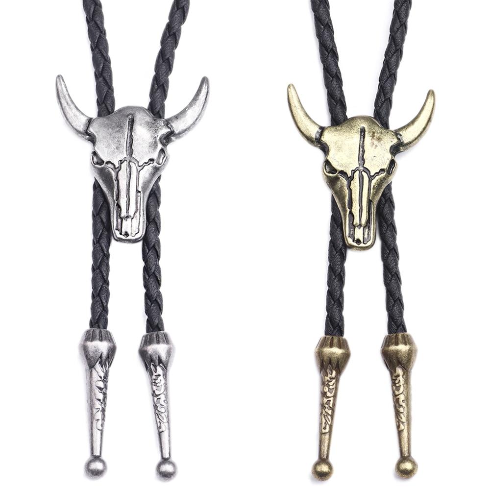 Fashion Mens Leather Cow Head Bolo Tie Necklace Jewelry Retro Western Cowboy Mens Gifts Necktie Men Accessories