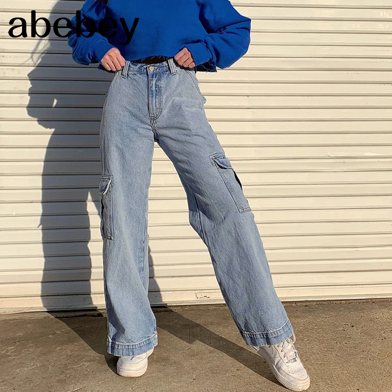 Pockets Patchwork High Waist Jeans Women Streetwear Straight Jean Femme Blue 100% Cotton Cargo Pants