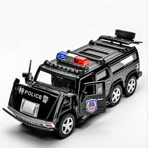 Image 3 - 1:32 6 륜 험머 합금 경찰 오프로드 모델 장난감 자동차 사운드 라이트 당겨 전차 완구 어린이를위한 자동차