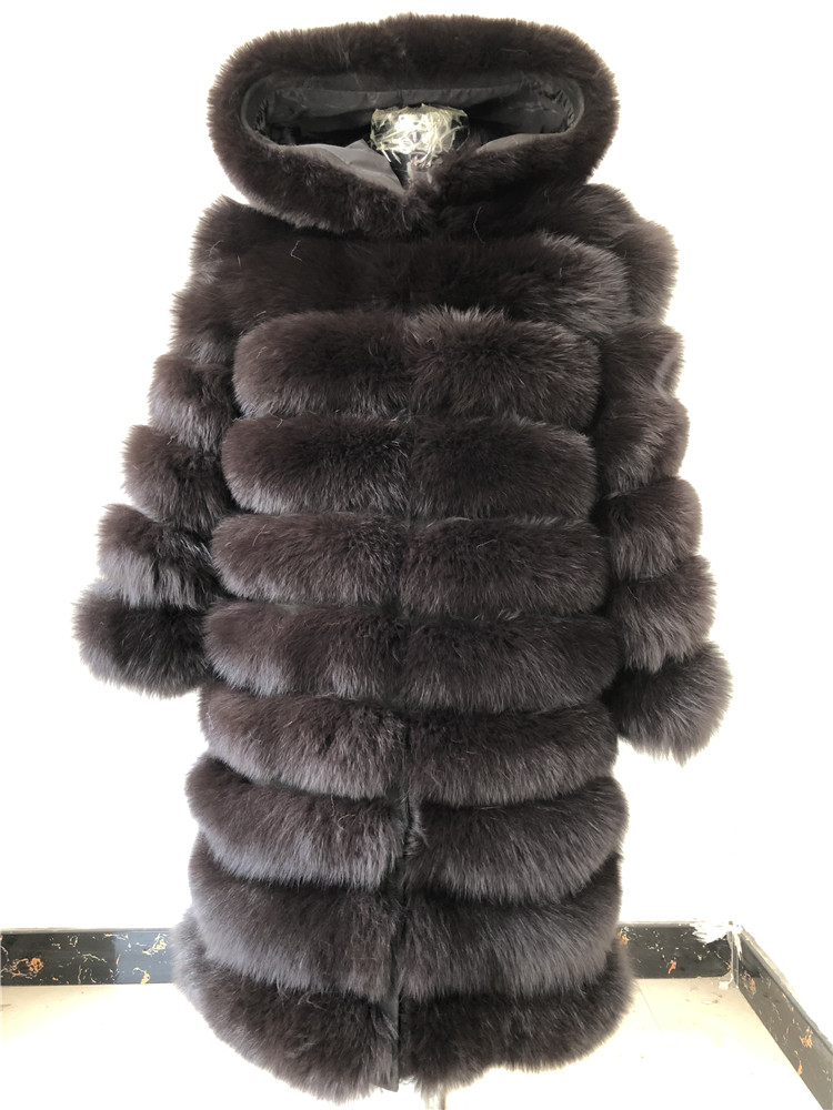 100% Natural Real Fox Fur Coat Women Winter Genuine Vest Waistcoat Thick Warm Long Jacket With Sleeve Outwear Overcoat plus size 97
