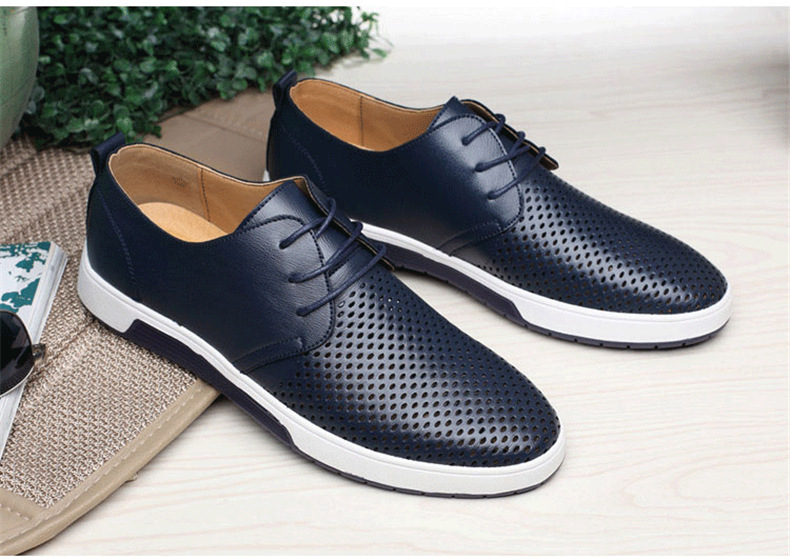 Hefa0a08ae2ec497ba1f77de20b2f484bG New 2019 Men Casual Shoes Leather Summer Breathable Holes Luxurious Brand Flat Shoes for Men Drop Shipping