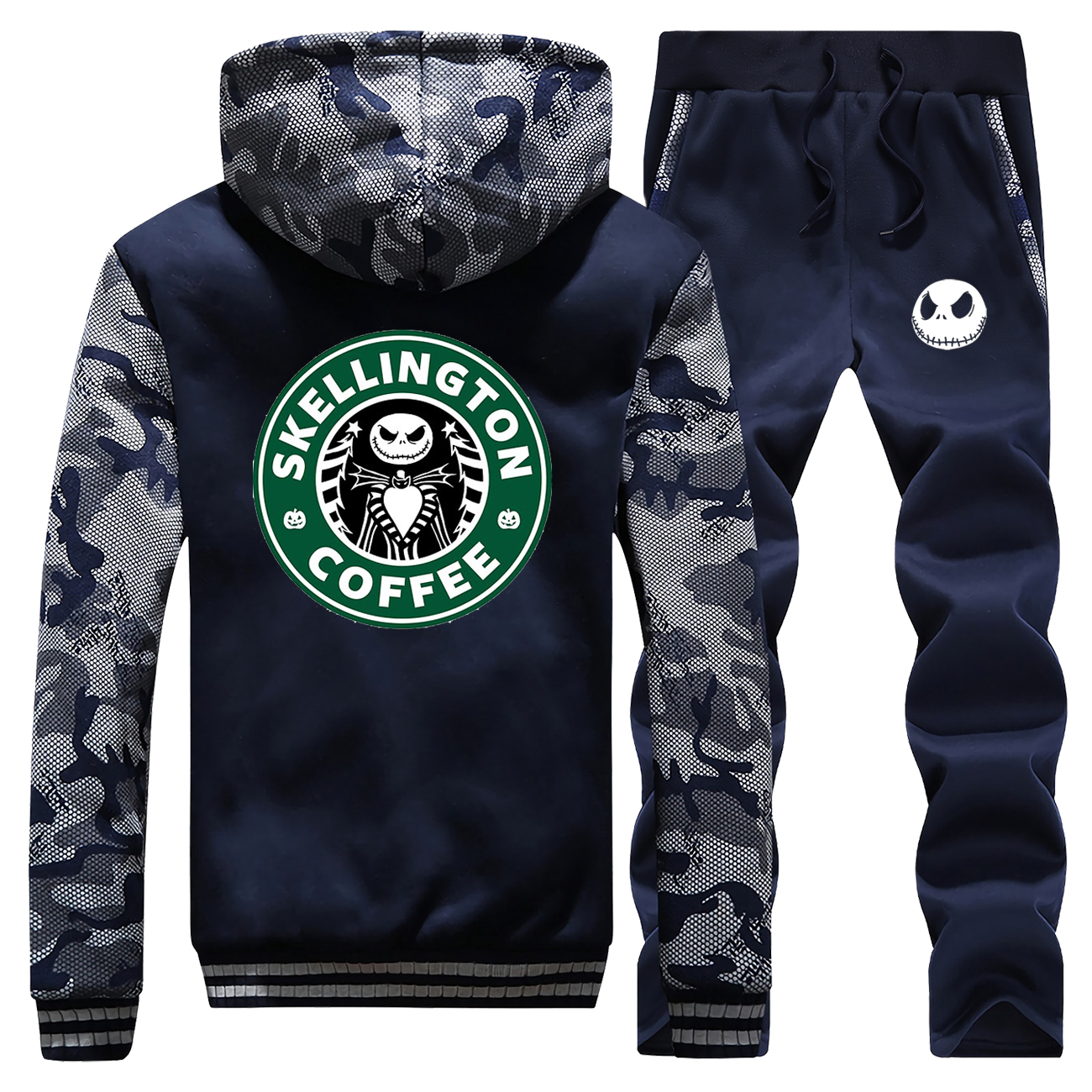 2019 Winter Jacket Warm Suit Mens Thick Fleece Hoodies Jack Skellington Coffee Streetwear Men Sweatshirt+Sweatpants 2 Piece Sets