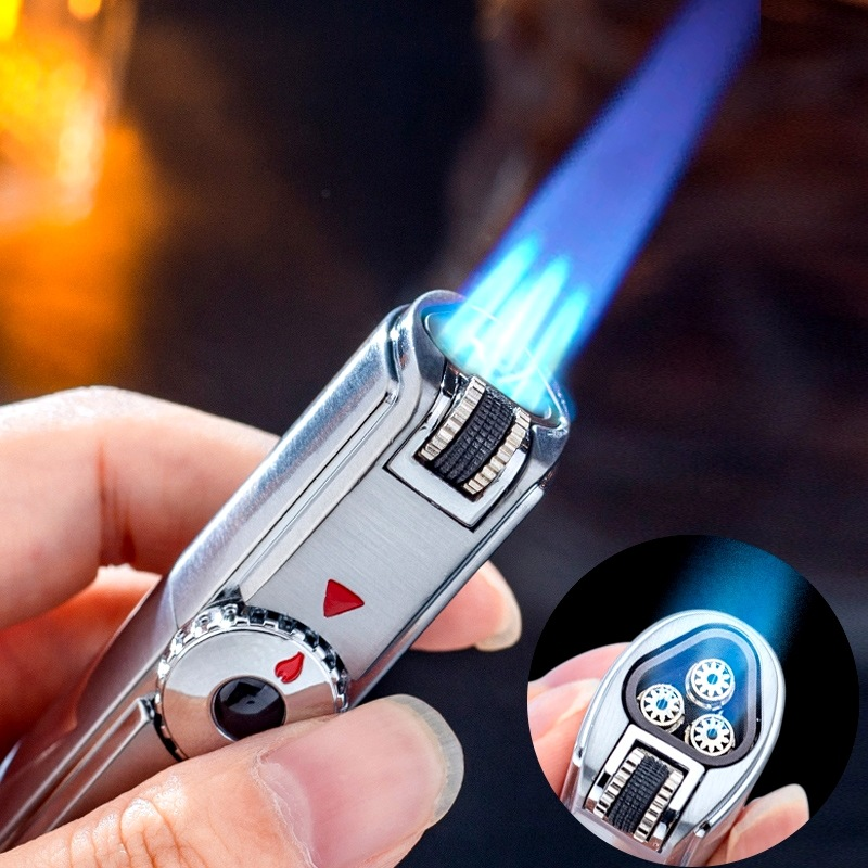 Jobon Triple Torch Lighter 3 Jet Gas Cigar Lighter Turbo Windproof Powerful Metal Spray Gun Kitchen Pipe Flint Lighter Outdoor