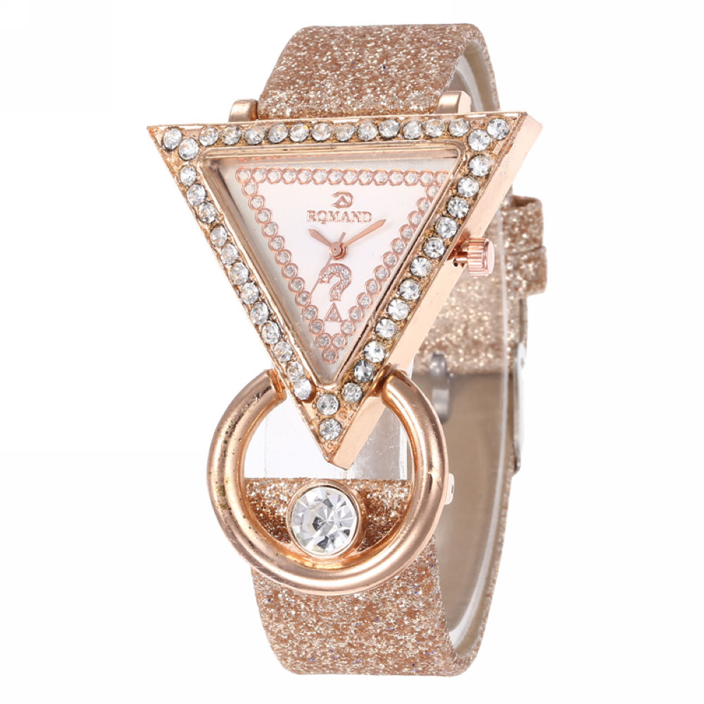 Rhinestone Triangle Dial Shimmer Faux Leather Band Women Quartz Wrist Watch Rhinestone Inlaid Flash Belt Watch, Party Gift Watch