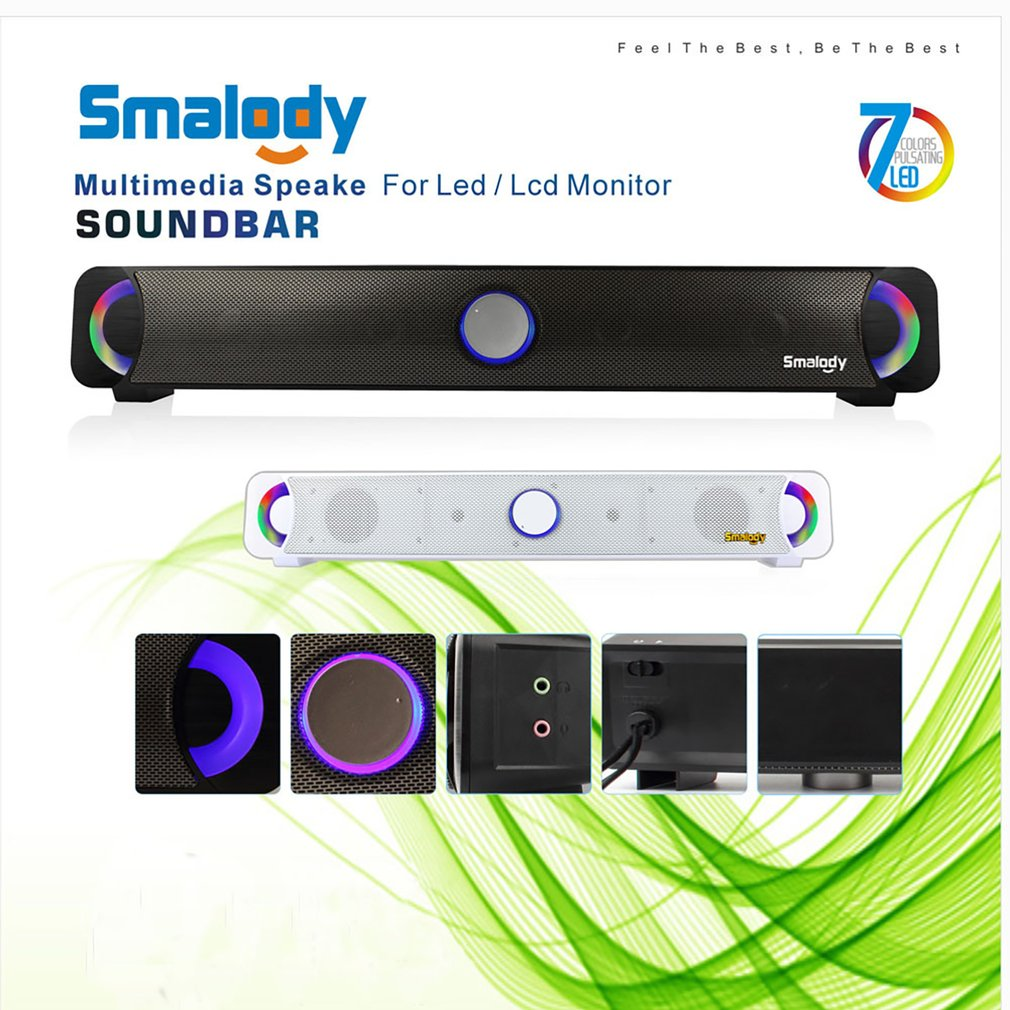 Original Smalody 9014 Stereo High Fidelity Bass Subwoofer Computer Speakers Colorful LED Computer Soundbar HIFI