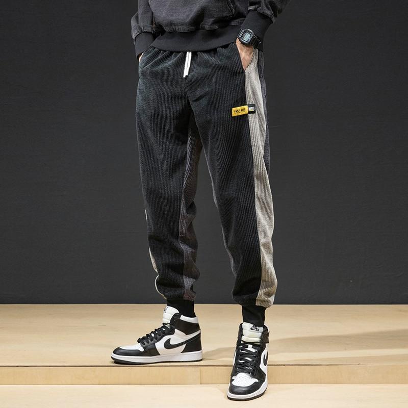 Autumn Winter Fashion Men Jeans Japanese Style Casual Corduroy Cargo Pants Harem Trousers Loose Fit Spliced Hip Hop Jogger Pants