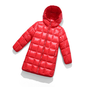 Image 2 - A15 2019 Fashion Girl Clothing Long Down Clothes Winter Boys Down Jacket Kids Warm Light  Hooded Coats Teen Outerwear Parka Coat