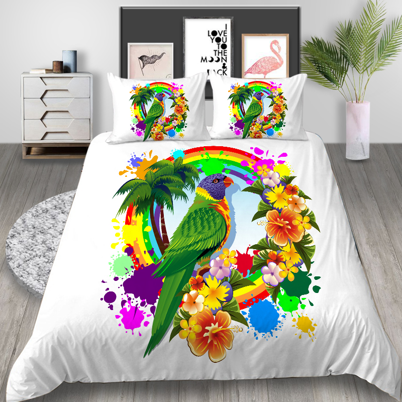 Thumbedding Parrot Bedding Set Wreath Tropical Style White Duvet Cover Queen King Twin Full Single Double Unique Design Bed Set