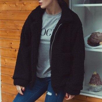 Autumn Winter Faux Fur Coat Women 2020 Casual Warm Soft Zipper Fur Jacket Plush Overcoat Pocket Plus Size Coat Female