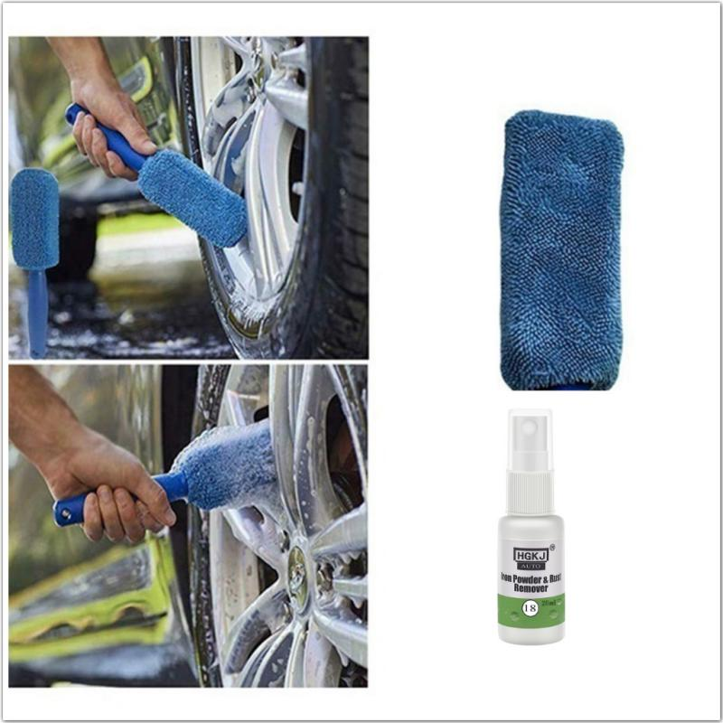 Car Wheel Cleaning Handle Brush Tire Washing Clean Tyre Soft Sponge Cleaner Car Paint Wheel Iron Powder Rust Remover TSLM1