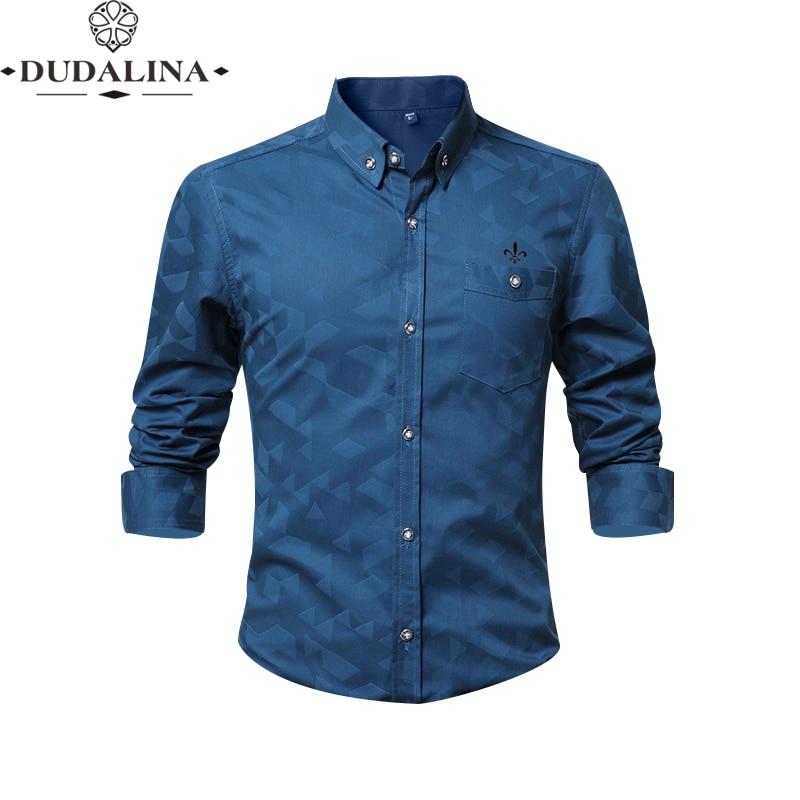 Jacquar Pocket Fashion Blusa Camisa Social Masculina Dudalina Long Sleeve Slim Fit Shirt Men Floral Clothes Pullover White Male