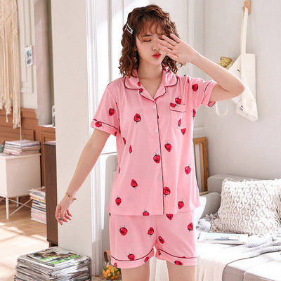 New Style Pajamas Women's Summer Thin Section Short Sleeve Shorts-Outer Wear With Cotton Large Size Loose-Fit Homewear Set Summe