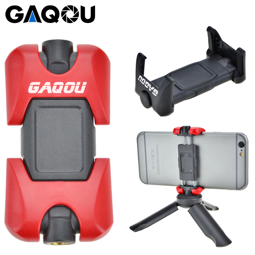 GAQOU Universal Tripod Mount Stand Adapter For Mobile Phone Holder Mini Cell Phone Clipper For IPhone Samsung Smartphone Bracket