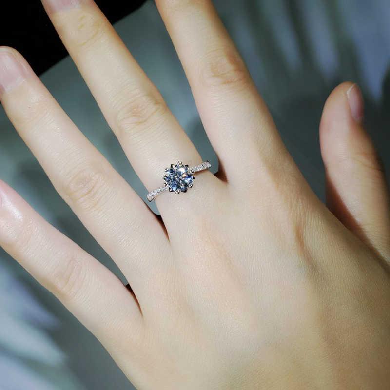 רומנטי פרח צורת 14K זהב לבן Moissanite טבעת 1ct 2ct 3ct תפור לפי מידה תכשיטי יום נישואים אירוסין טבעת