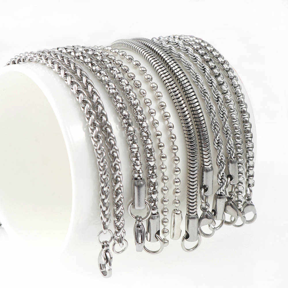 6 styl łańcuch ze stali nierdzewnej naszyjnik wypełniony stałe naszyjnik łańcuchy Link mężczyźni Choker ze stali nierdzewnej mężczyzna damska biżuteria