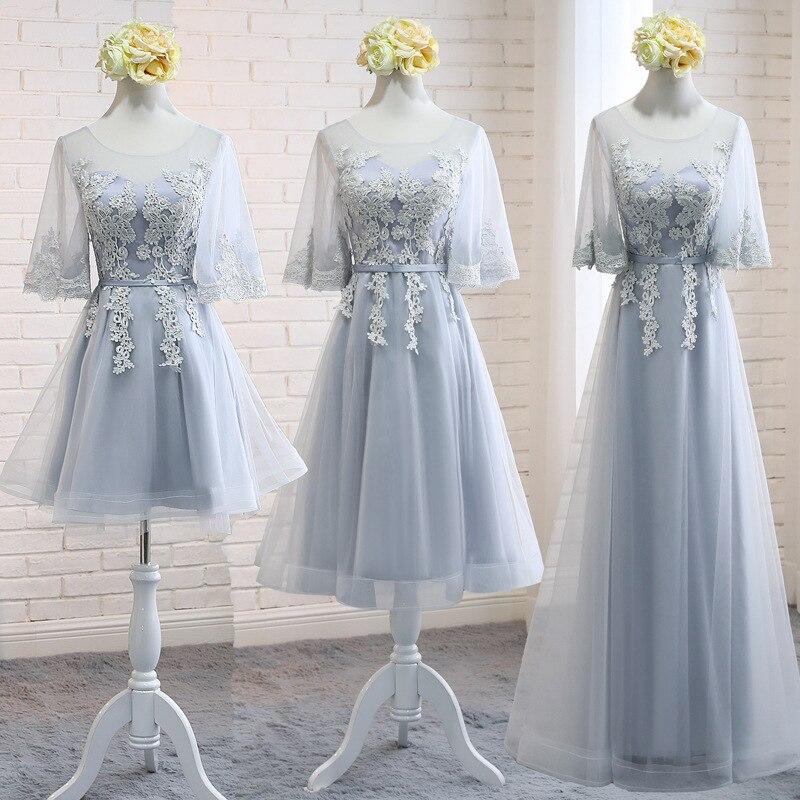 Silver Gray Bridesmaid Dresses Appliques Embroidery A-Line Vestido De Festa O-Neck Half Sleeve Women Wedding Party Gowns R022
