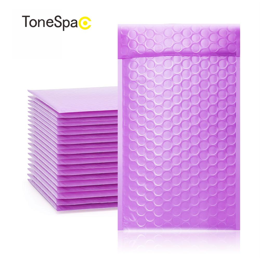 TONESPAC 130*210mm 50pcs Poly Bubble Mailer Padded Shipping Envelopes Bag Self Seal Small Waterproof Packaging Purple