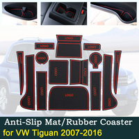 Anti slip Door Rubber Cup Cushion for VW Tiguan 2007~2016 for Volkswagen 2010 2013 2014 2015 Groove Mat Car Interior Accessories|Car Stickers| |  -