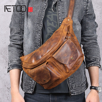 AETOO Casual retro mad horse leather breast bag, men's head leather shoulder bag, leather large bag цена 2017