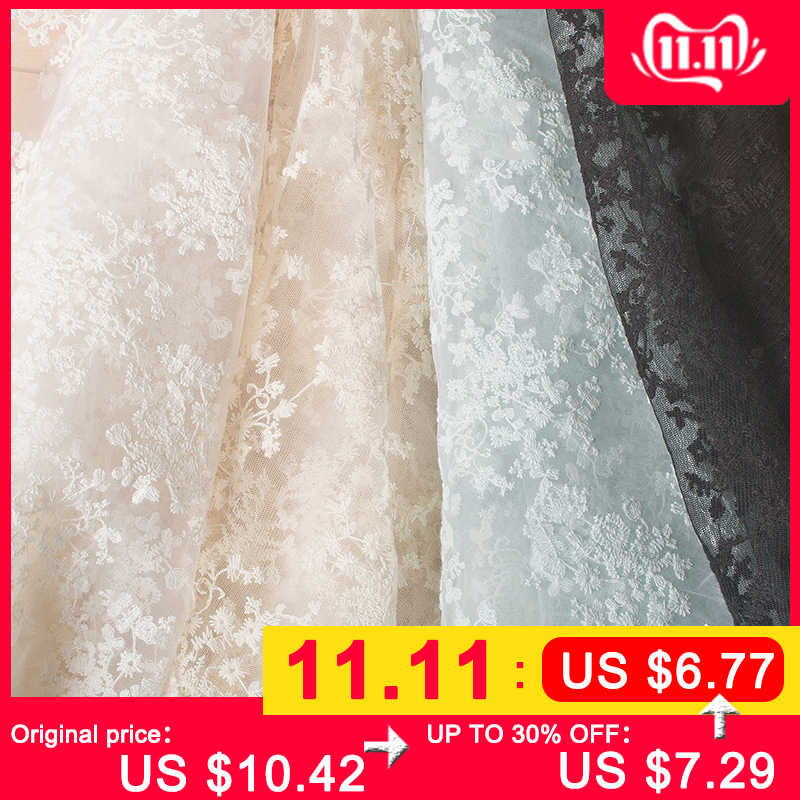 Width 130CM Organza Embroidery Jacquard Flower Tulle Fabric  Mesh for Party Stage Wedding Dress Skirts Home Decoration