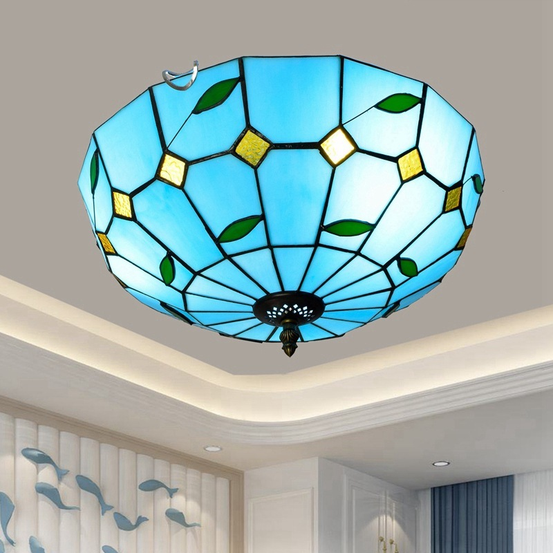 Blue Mediterranean retro Tiffany stained glass corridor balcony foyer bedroom ceiling lighting