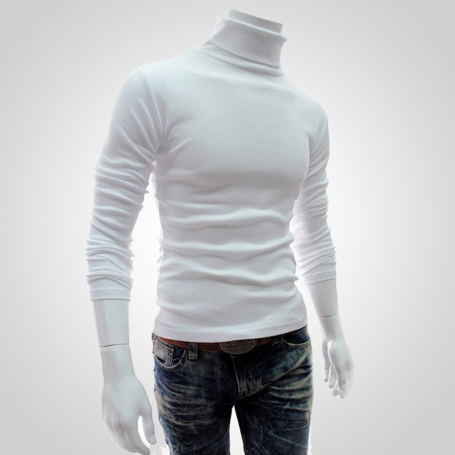 New Fashion Autumn Winter Men'S Turtleneck Sweaters Stretch Slim Fit Basic Knitted Cotton Pullovers Tops Plus Size