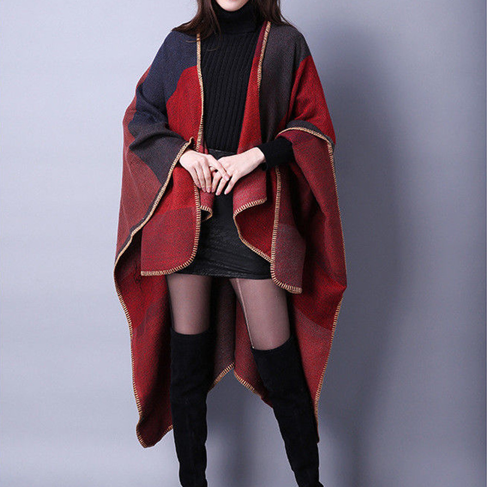 women s Jacket Outwear Winter Warm Knitted Cashmere Poncho Capes Shawl Cardigans Sweater Coat Plus Size Innrech Market.com