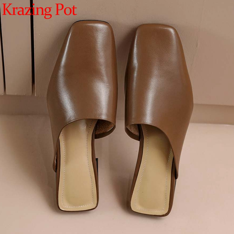Krazing Pot Simple Solid Summer Handmade Outside Slipper Genuine Leather Square Toe Low Heel Young Lady Daily Shoes Women L08